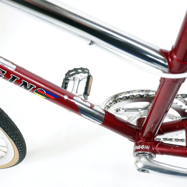 Faggin red step through bike down tube angle 2