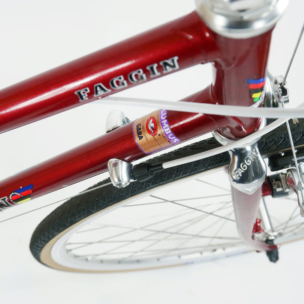 Faggin red step through bike down tube