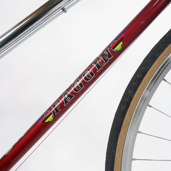 "Faggin red step through bike down tube ""Faggin"" decal"