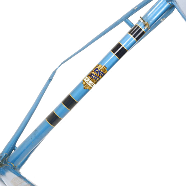 Hobbs Riband frame in blue close up seat tube logo
