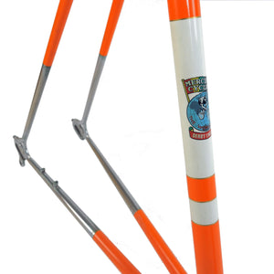 Mercian orange frame seat tube decal