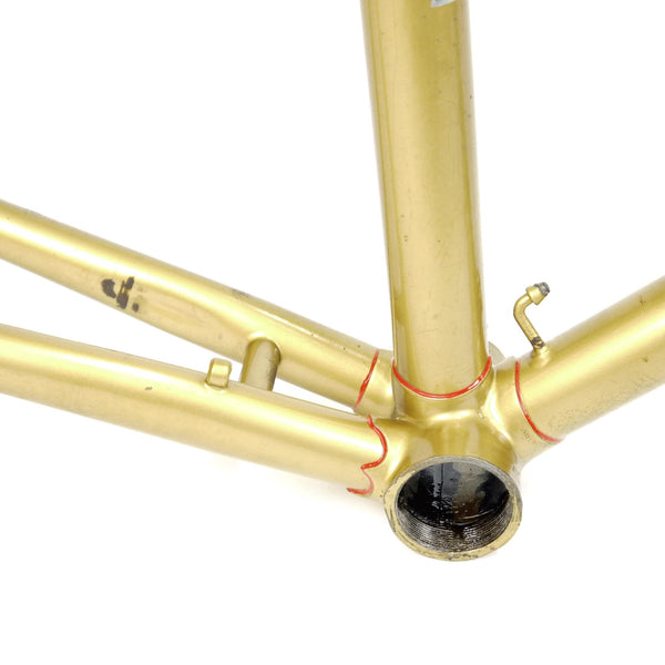 Mercian step through gold bottom bracket shell and red lug lining