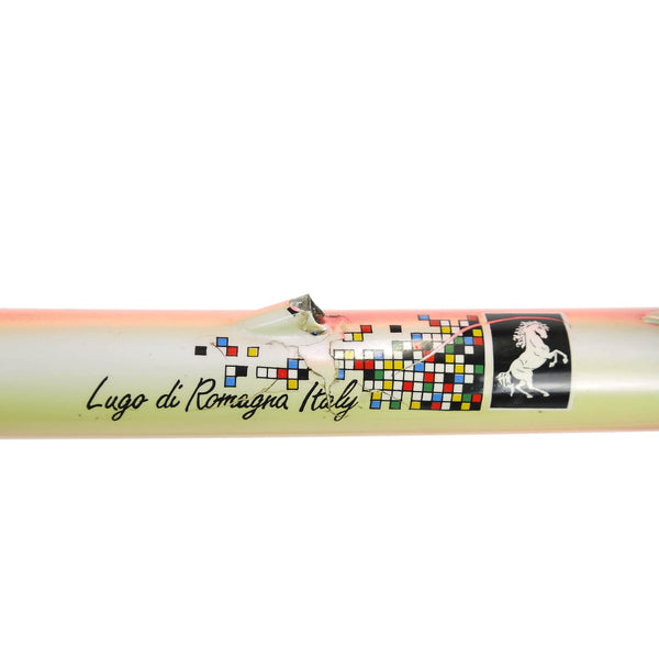 Somec white rainbow top tube decal and pantograph