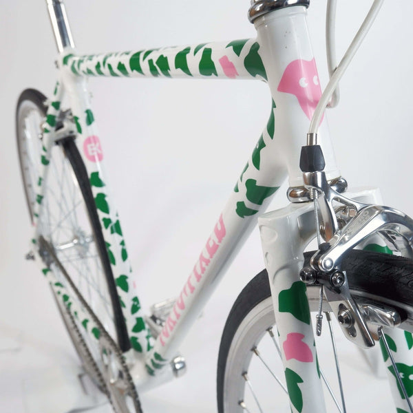 Tokyo fixed single speed bike, white with green leaves 50cm, head tube and side profile