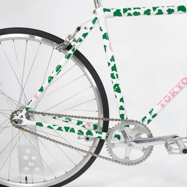 Tokyo fixed single speed bike, white with green leaves 50cm, crankset, rear wheel and seat tube