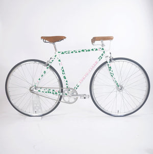 Tokyo fixed single speed bike, white with green leaves 50cm drive side