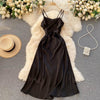 V-Neck Solid Color Suspender Dress