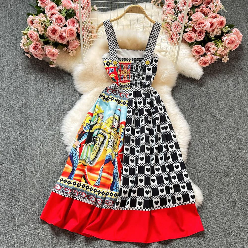 Printed Square Neck Strap Dress