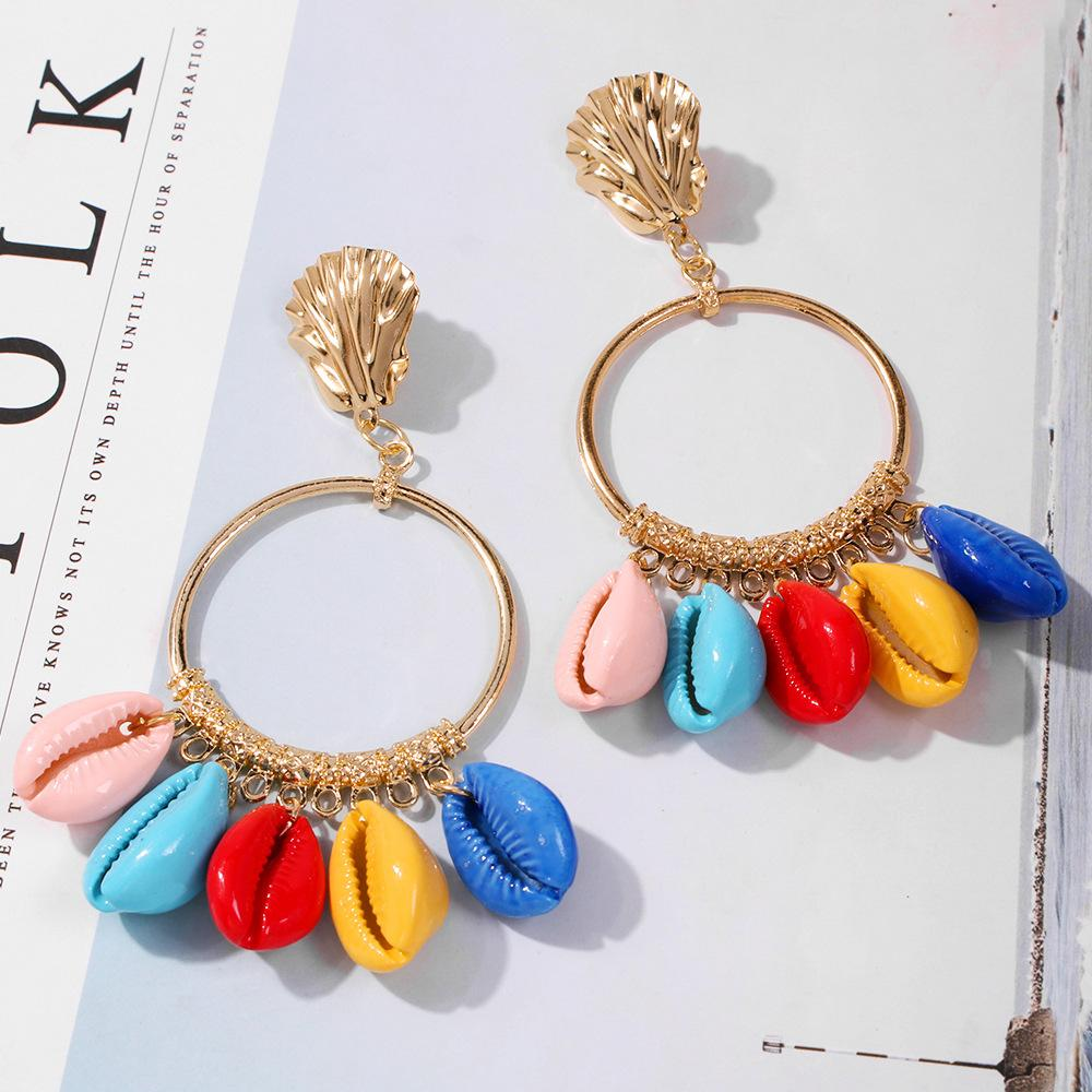 Colored Shell Stud Earrings