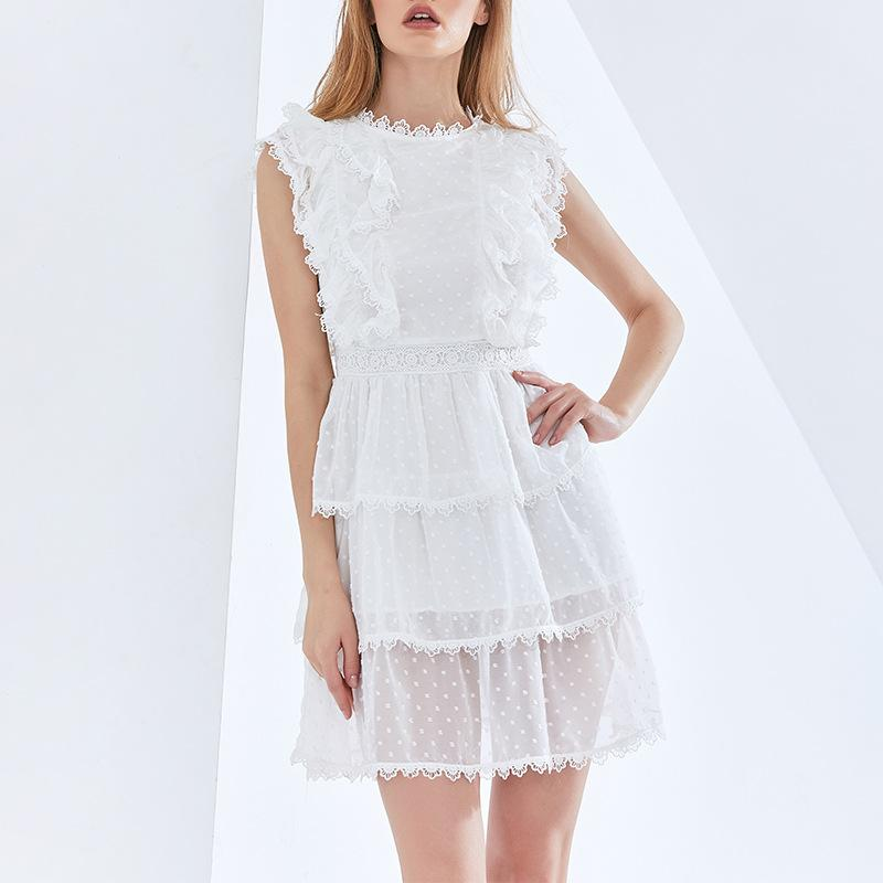 Embroidered Lace Ruffle Dress