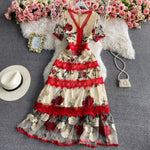 Embroidered Stitching Lace Dress