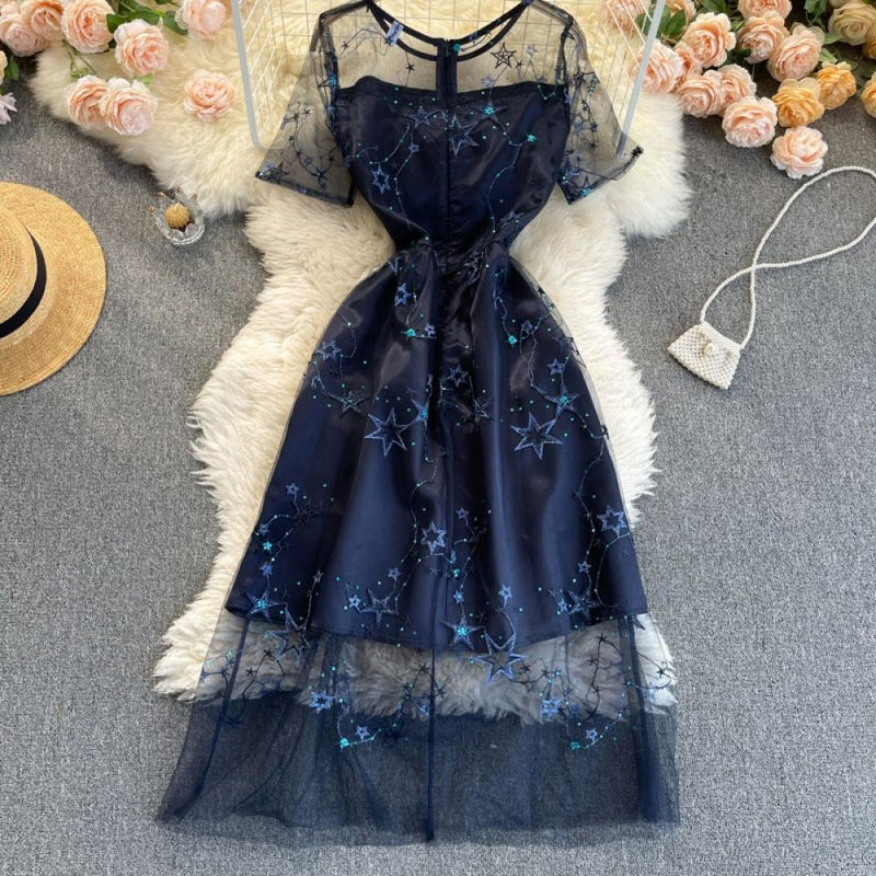 Embroidered See-through Mesh Waist Dress