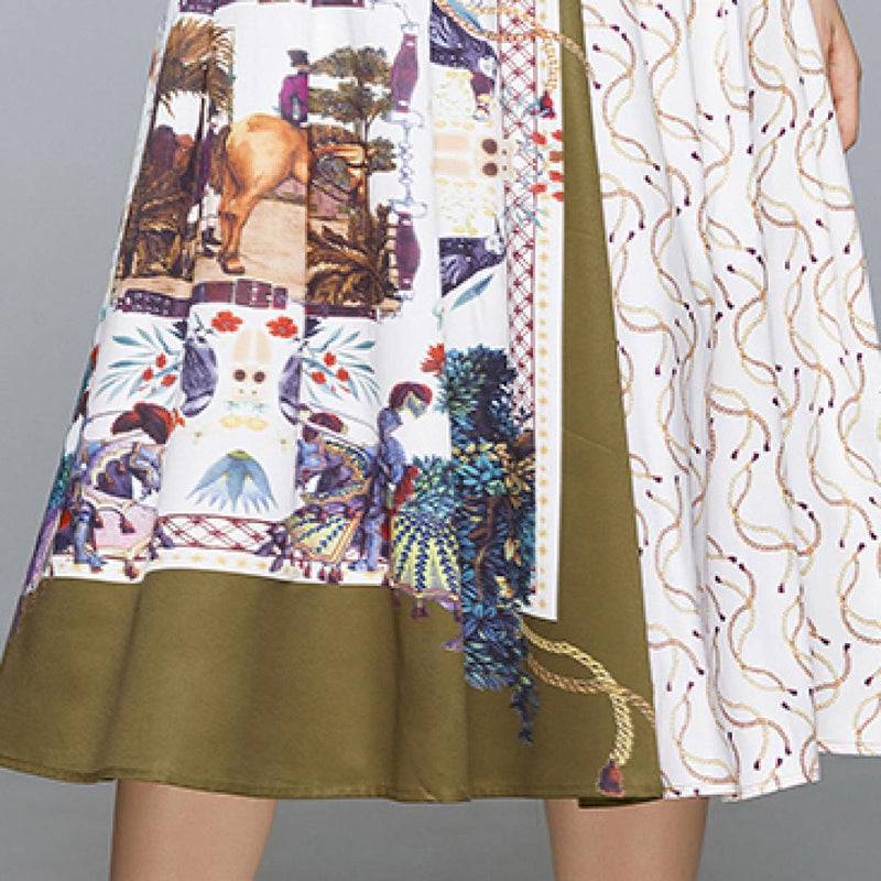 Two-piece Spliced Printed Skirt