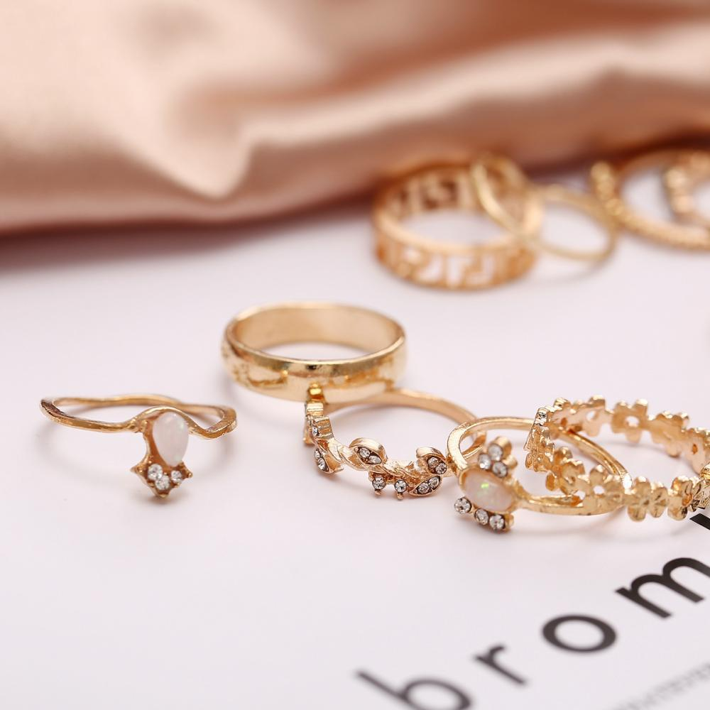 Retro Golden 15pcs Rings