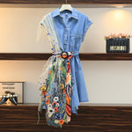 Embroidered Patchwork Denim Dress