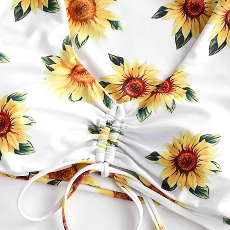 Sunflower Print Swimsuit Suit