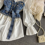 Bead Denim Halter Shirts Two Piece Sets