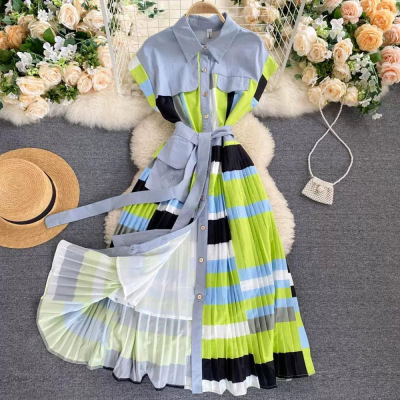 Lapel Pleated Dress