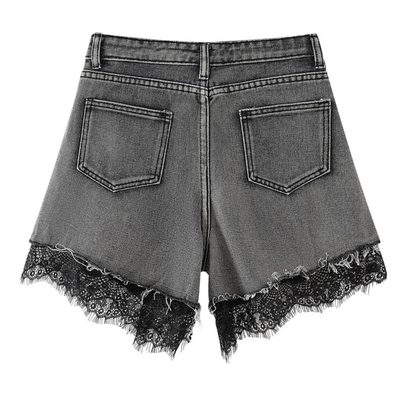 High Waist Lace Denim Shorts