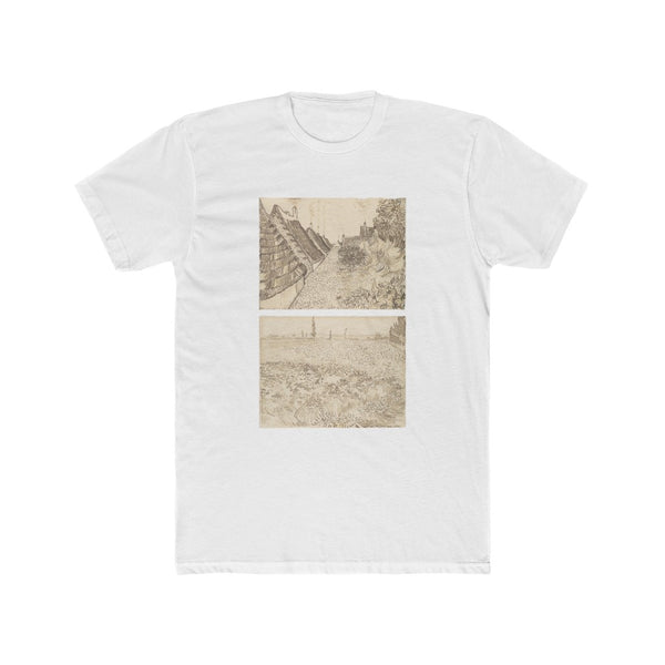 Street in Saintes-Maries-de-la-Mer & Wheat Field (1888) - Crew Tee