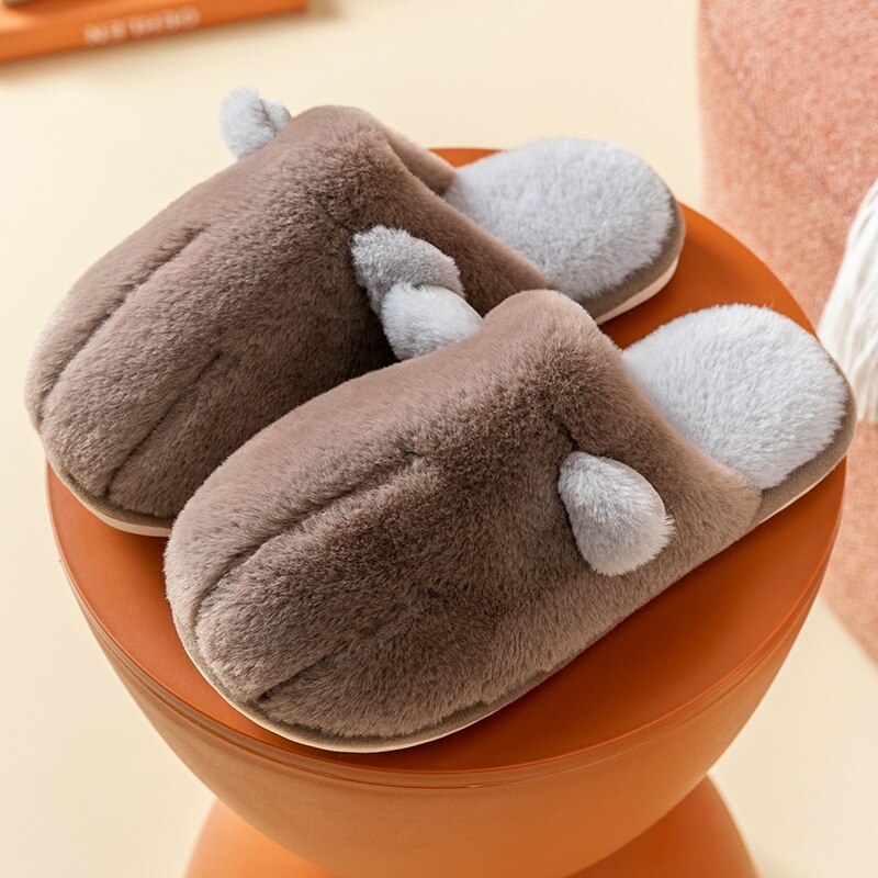 Cat's claw type cotton slippers female home household floor couple non-slip soft shoes slippers men winter warm plush cartoon co