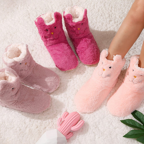 2020 Winter Plush Slippers Women cute animal print warm home slippers Cotton Slippers Shoes Non-slip Floor Home Slippers Women