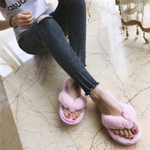 Load image into Gallery viewer, COOTELILI Winter Fashion Women Home Slippers Faux Fur Warm Shoes Woman Slip on Flats Female Fur Flip Flops Pink Plus Size 44 45