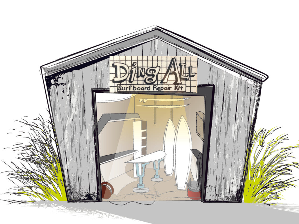 Ding All Surfboard repair origin story. Cartoon mock-up of a utility shed where suncure and dingall water sport repair products were born.