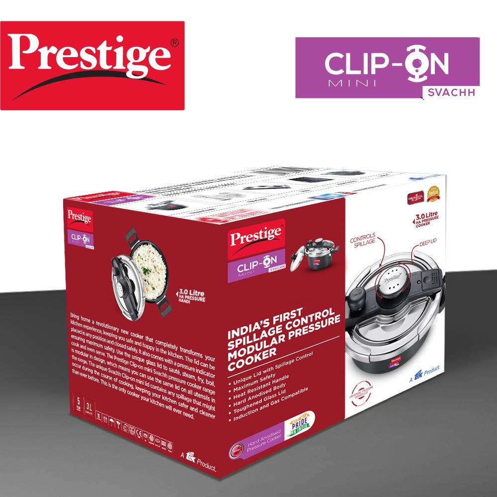 Prestige Svachh 3 L Hard Anodised Pressure Cooker, with deep lid for Spillage Control ( 20240 , Black )