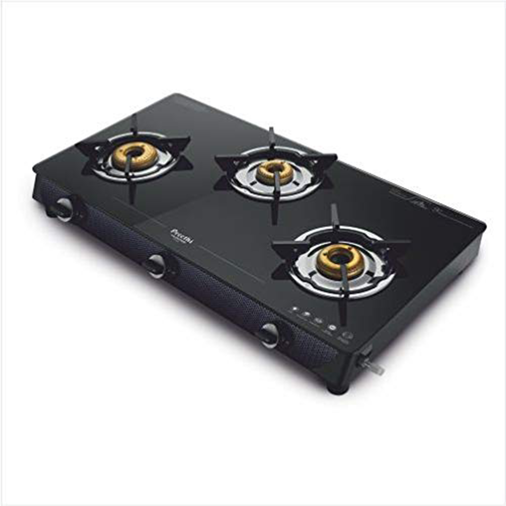 Preethi Valentino Glass Top 3 Burner Gas Stove, Manual Ignition