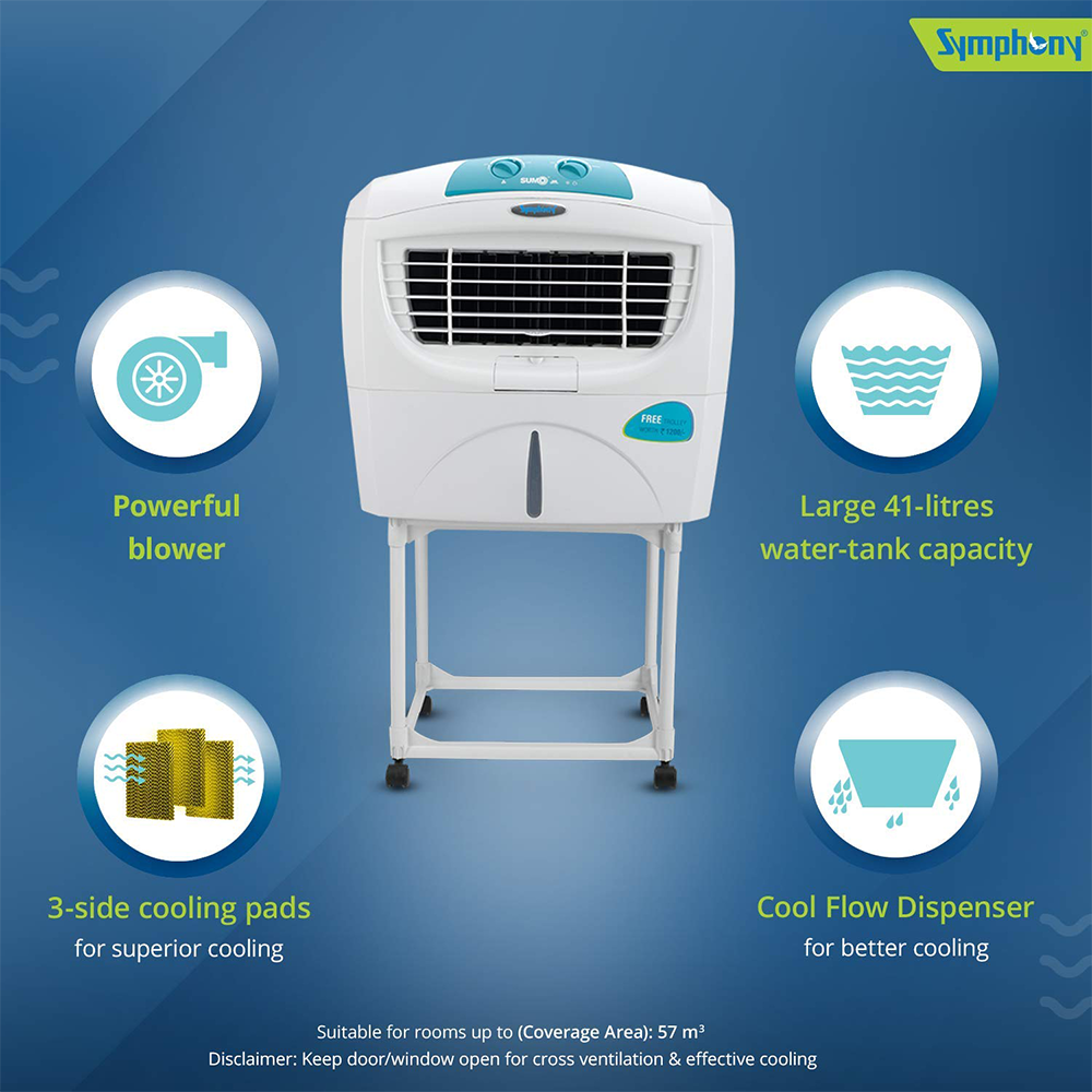 Symphony Sumo Jr. Portable Desert Air Cooler 45-litres with Trolley, Powerful Blower, 3-Side Cooling Pads, Automatic Vertical Swing