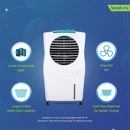 Symphony Ice Cube 27 Personal Room Air Cooler 27-litres with Powerful Fan, 3-Side Honeycomb Pads, Multistage Air Purification & Low Power Consumption