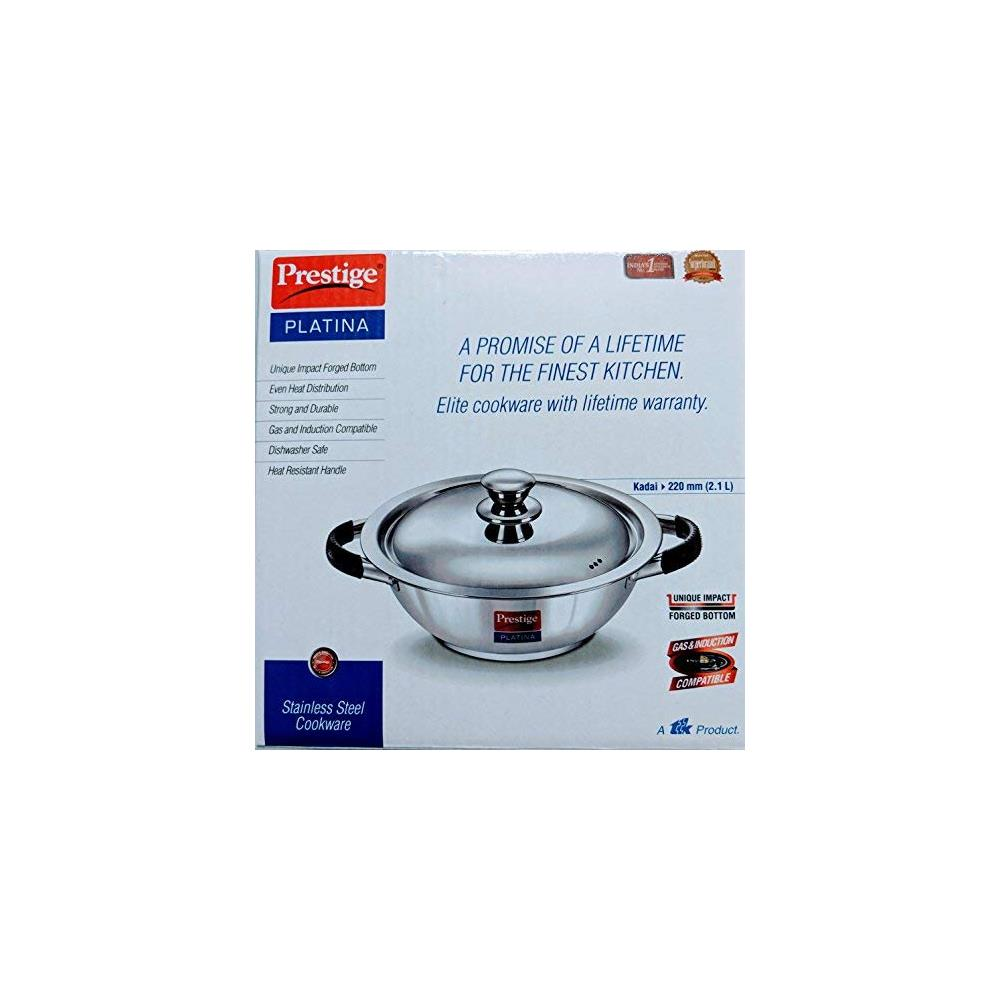 Prestige Platina Induction Base Non-Stick Stainless Steel Kadai, 220mm With Lid ( 36023 , Silver )