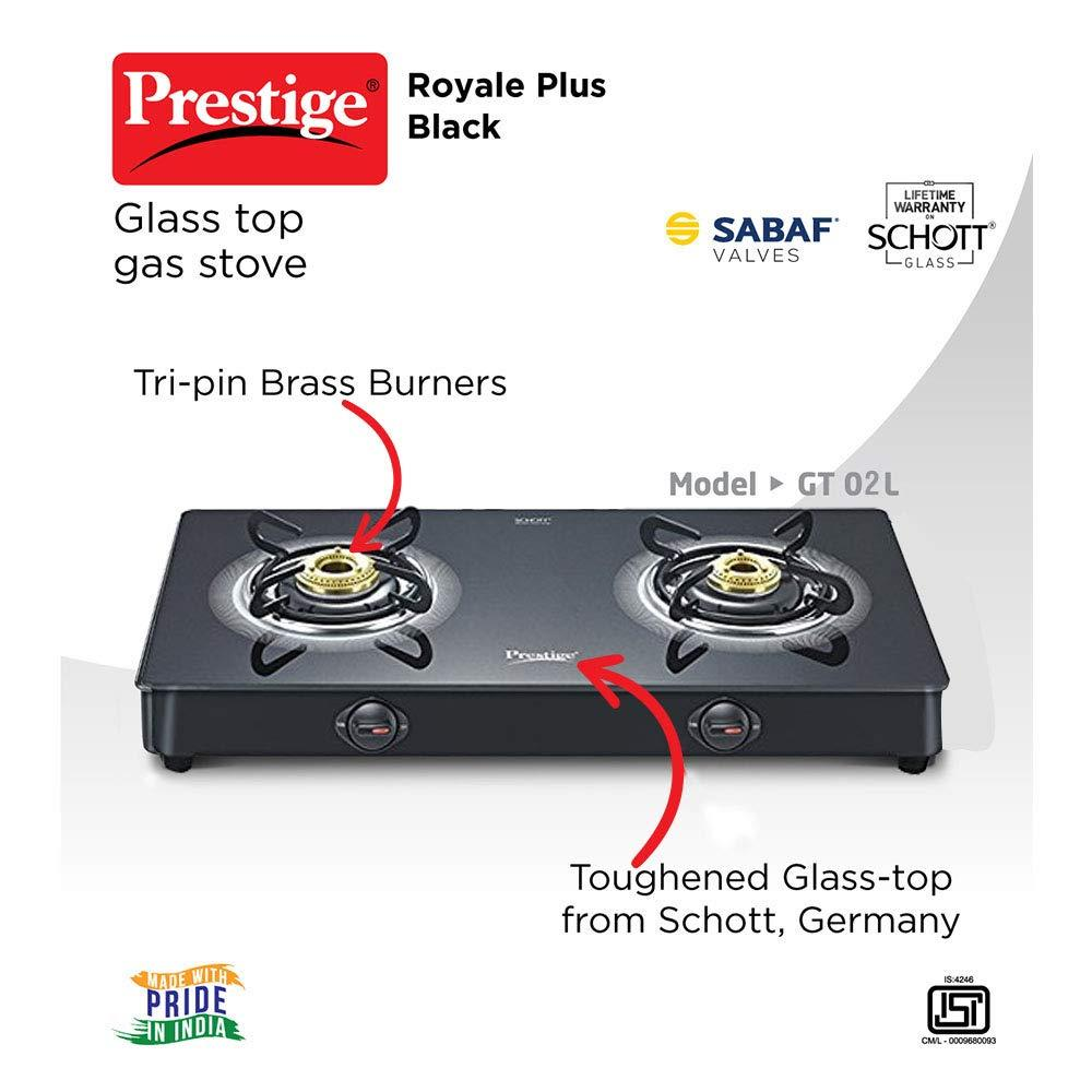 Prestige Royale Plus Schott Glass 2 Burner Gas Stove, Manual Ignition, ( 40081 , Black )