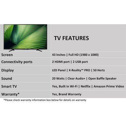 Sony Bravia 108 cm (43) Full HD Smart LED TV 43W6600 (Black)