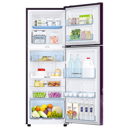 Samsung 253 L 2 Star Inverter Frost-Free Double Door Refrigerator (RT28T3932CR/HL, Camellia Purple, Convertible)