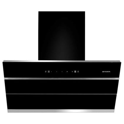Faber Zenith FL SC BK 90 Auto Clean Wall Mounted Chimney  (Black, Silver 1350 CMH)