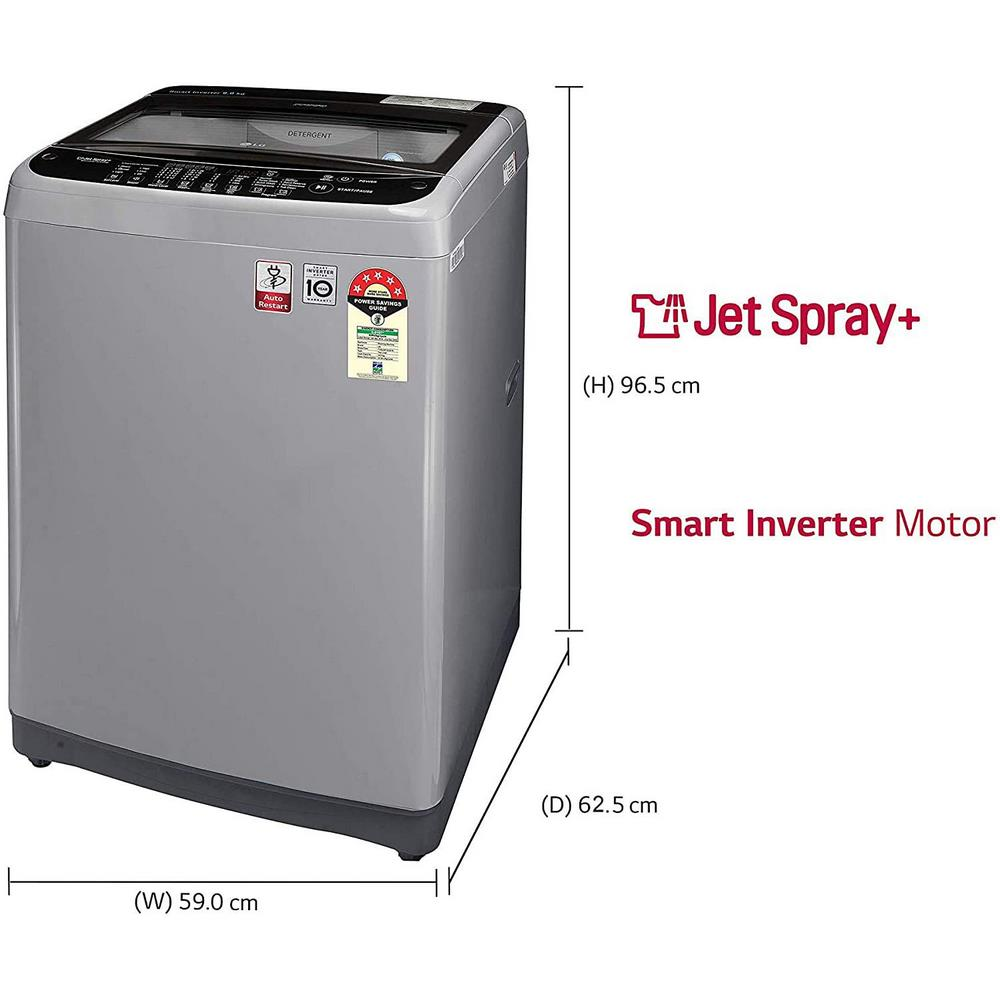 LG 9.0 Kg 5 Star Smart Inverter Fully-Automatic Top Loading Washing Machine (T90SJSS1Z, Stainless Steel, TurboDrum)