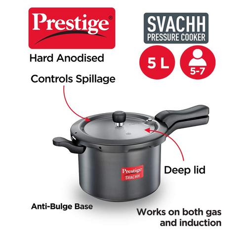 Prestige Svachh 5 Litre Pressure Cooker with Hard Anodized Body (Black)