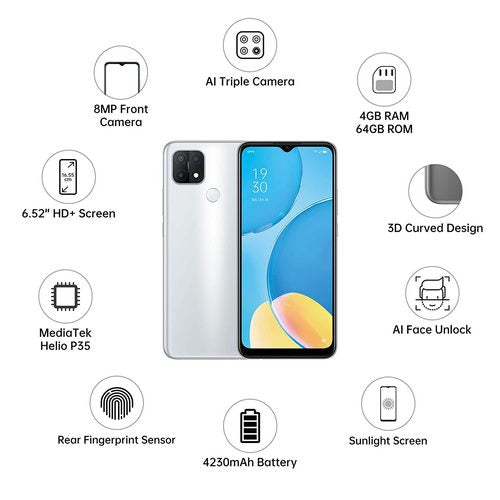 OPPO A15s (Dynamic Black , Rainbow Silver , Fancy White)( 4GB RAM, 64GB Storage)