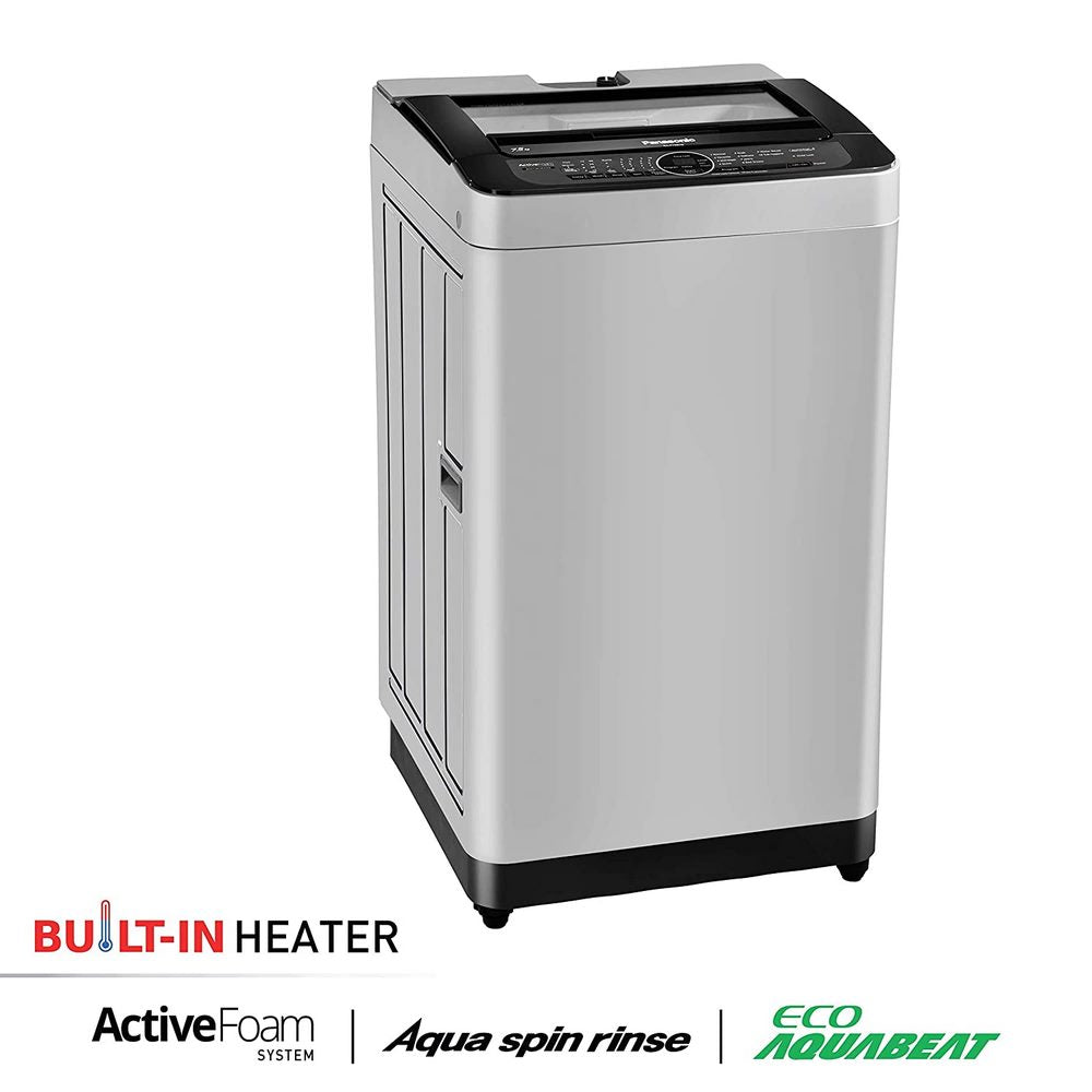 Panasonic 7.5 Kg 5 Star Built-In Heater Fully-Automatic Top Loading Washing Machine (NA-F75BH9MRB, Middle Free Silver, Active Foam System