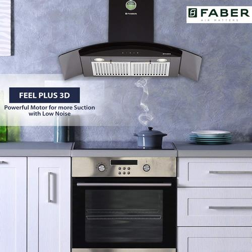 Faber Hood Feel Plus 3D T2S2 BK TC  90 Wall Mounted Chimney  (Black 1095 CMH)
