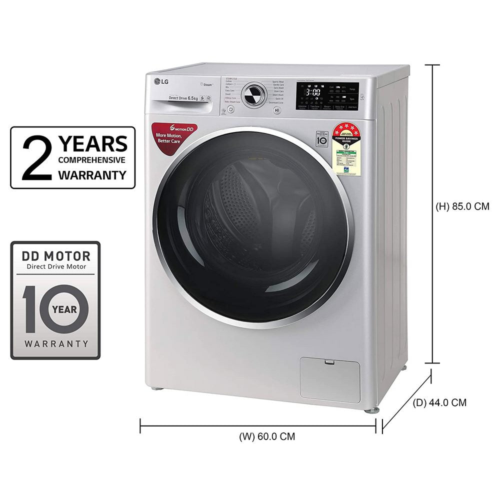 LG 6.5 Kg 5 Star Inverter Fully-Automatic Front Loading Washing Machine (FHT1265ZNL, Luxury Silver, 6 Motion Direct Drive)