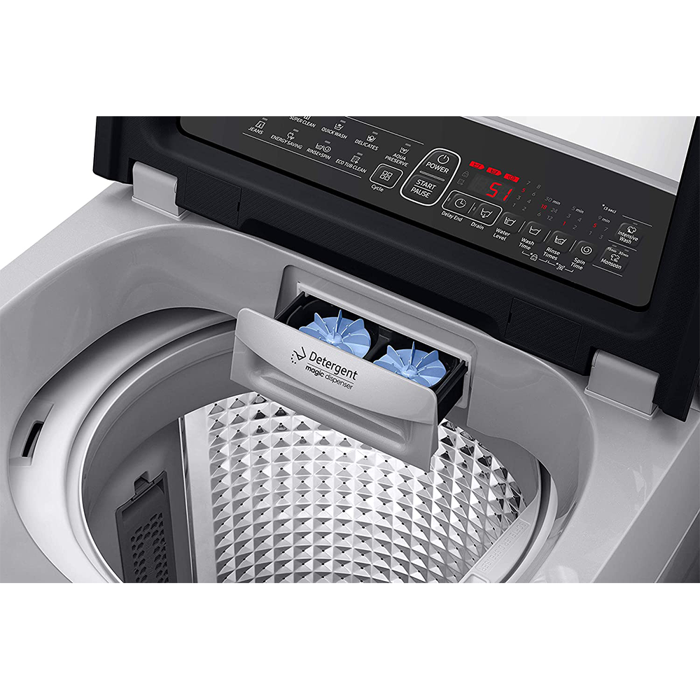 Samsung 6.5 Kg Inverter 5 starFully-Automatic Top Loading Washing Machine (WA65N4261SS/TL, Imperial Silver, Wobble technology)