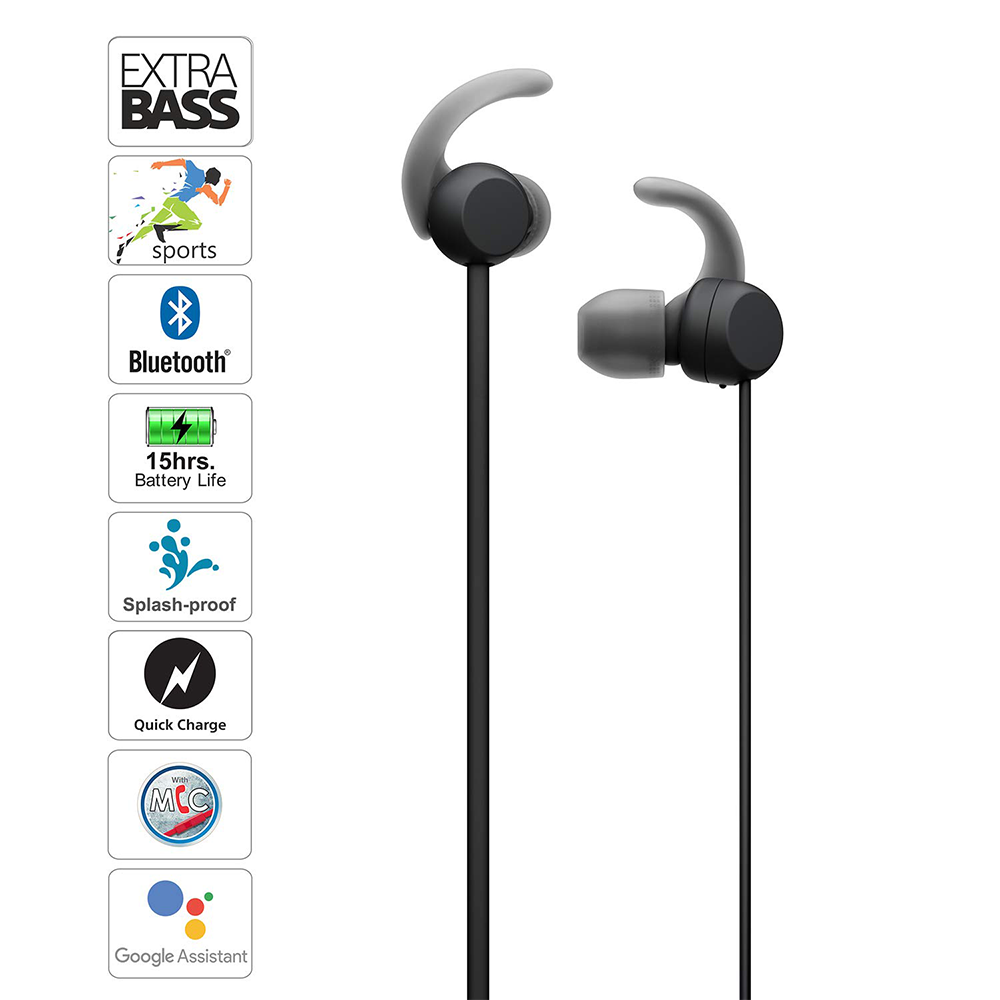 Sony WI-SP510 Wireless Sports Extra Bass, Quick Charge, Magnetic Earbuds, Bluetooth Ver 5.0, Headset with Mic for Phone Calls