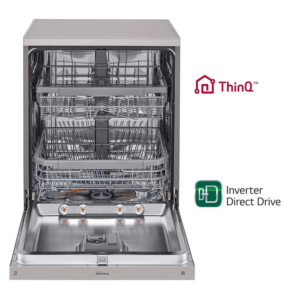 LG 14 Place Settings Wi - Fi Dishwasher ( DFB424FP , Silver, Silent Operation, Tough Stain Removal, Adjustable racks )