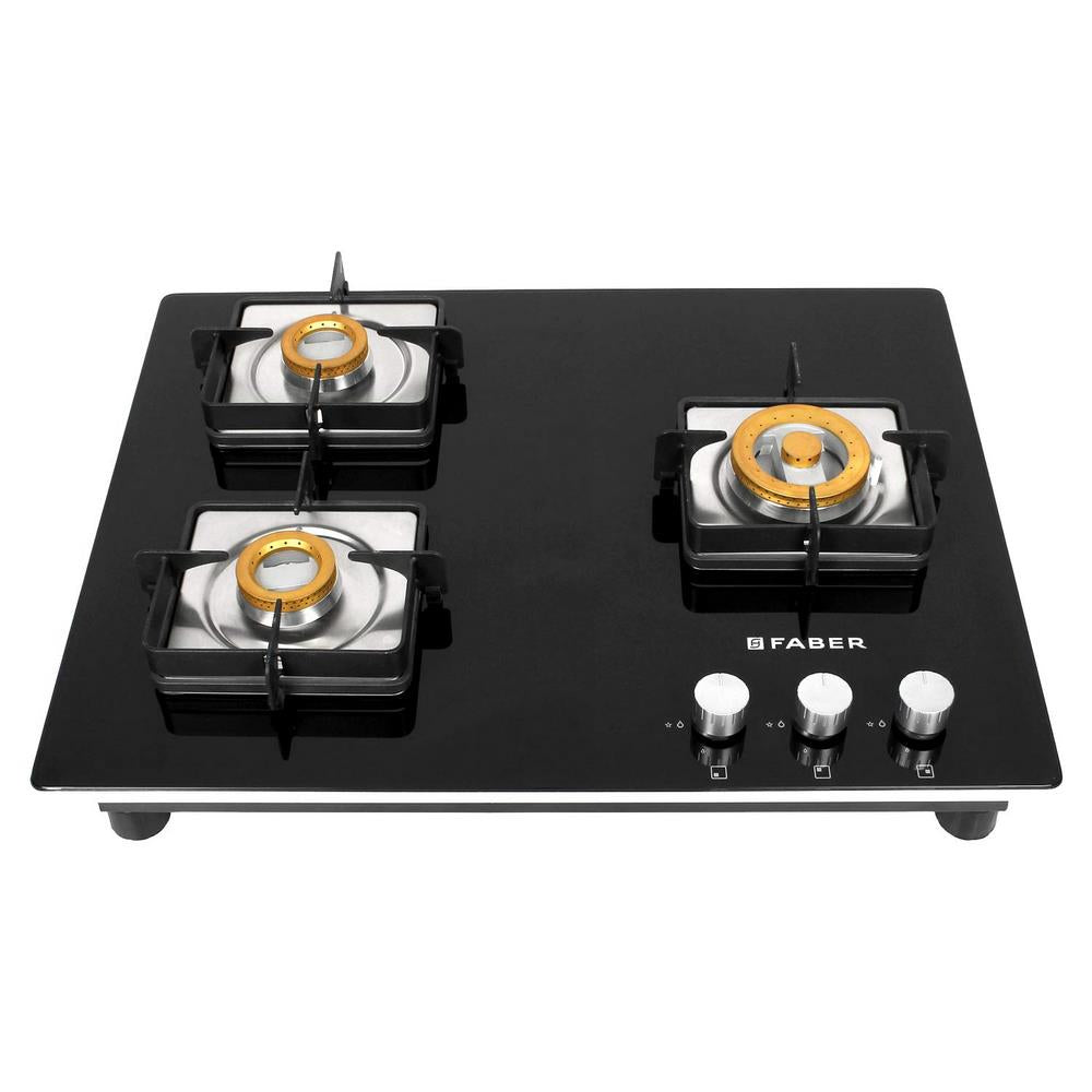 Faber 65 cm Hob, 3 Burner, Auto Ignition ( FBRHOB-HTG653CRSBRCI , Black )