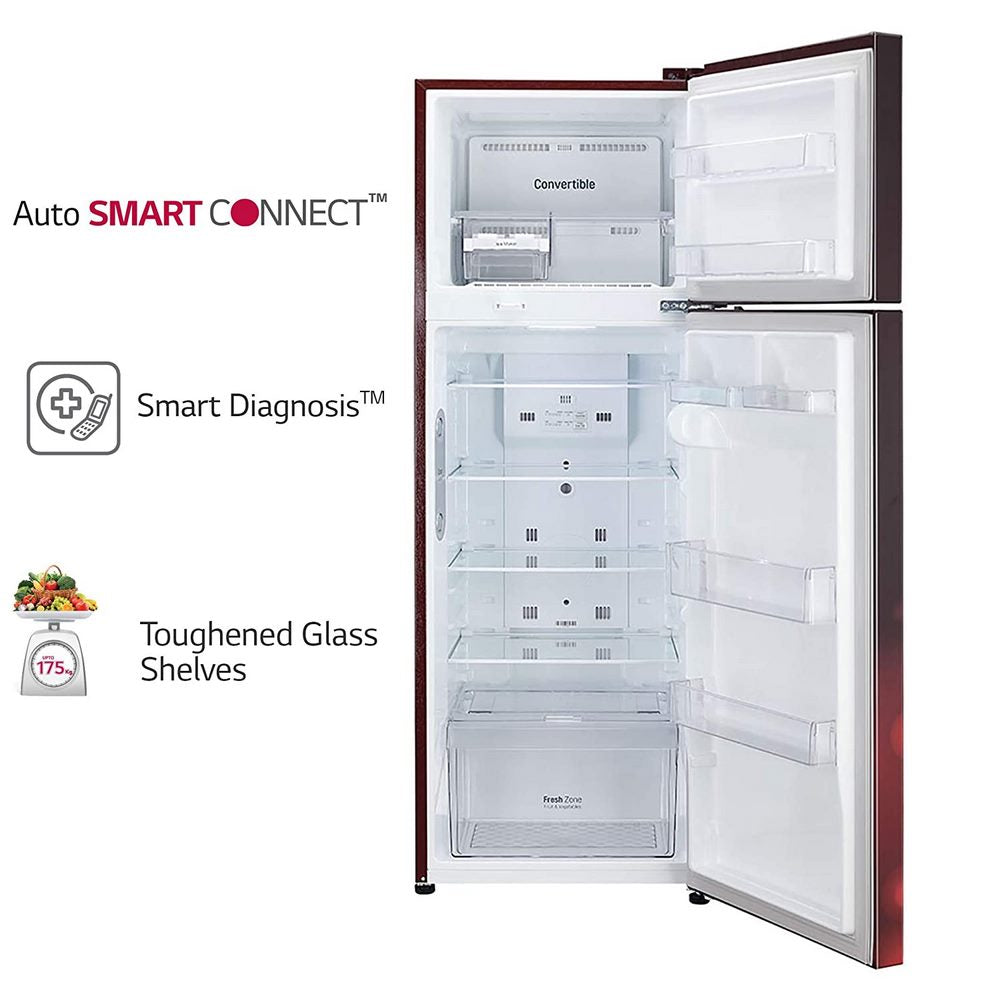 284 Litres ConvertiblePLUS Fridge with Smart Inverter Compressor,AutoSmart Connect Double Door Refrigerator (GL-T302RSCY,Convertible, Scarlet Charm)