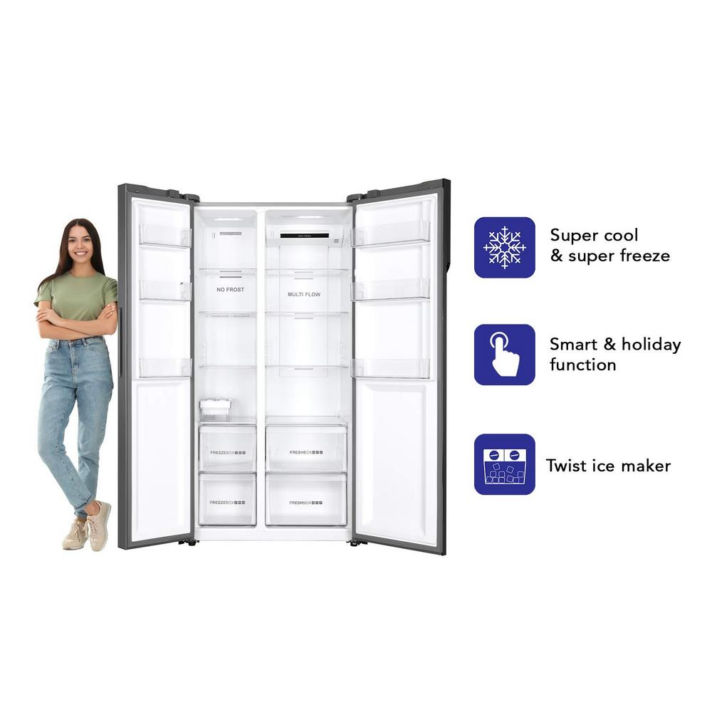 Haier 570 L Inverter Frost-Free Side-by-Side Refrigerator with Twin Inverter Technology ( Chocolate Glass , HRF-622CG )