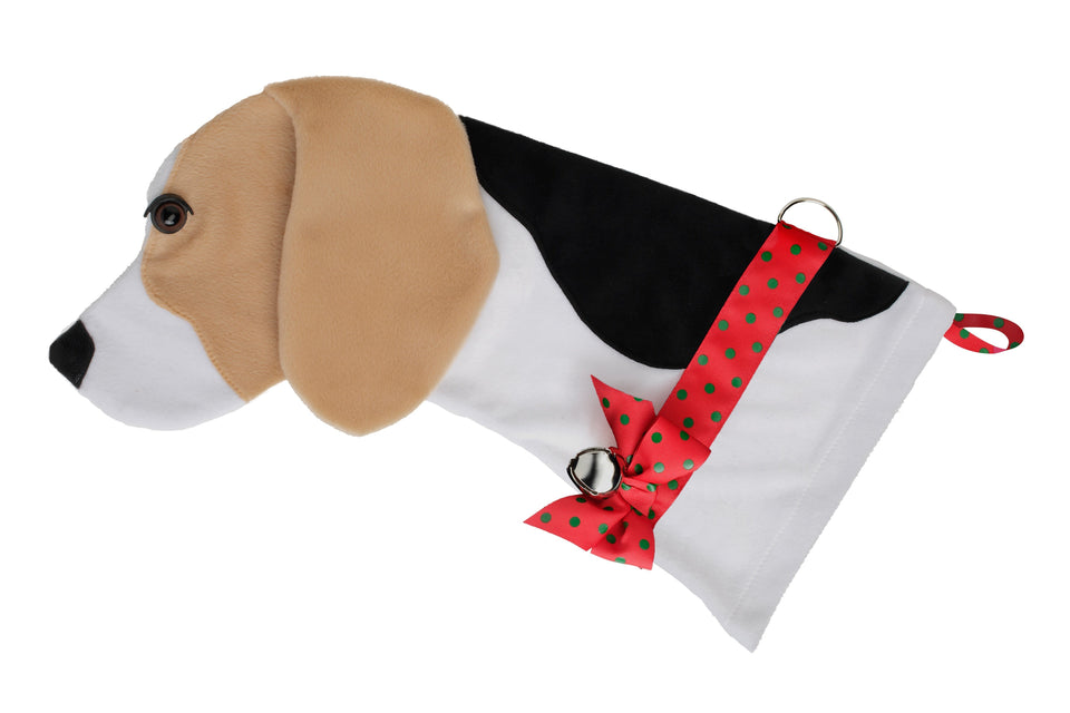 This Beagle shaped dog Christmas stocking is the perfect gift for stuffing toys and treats into to spoil your fur baby for Christmas, or whatever holiday you celebrate!